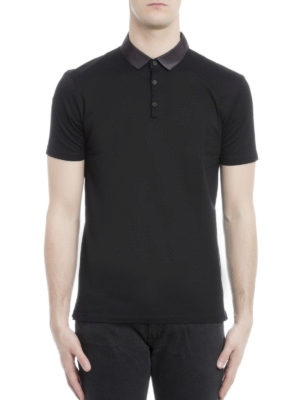 Lanvin: polo shirts online - Satin collar cotton polo shirt