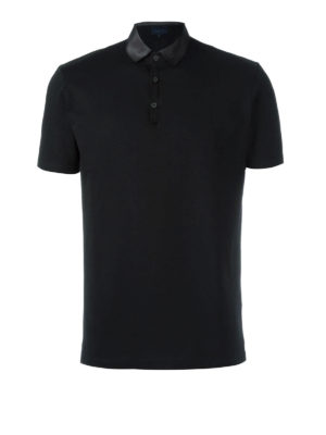 Lanvin: polo shirts - Satin collar cotton polo shirt