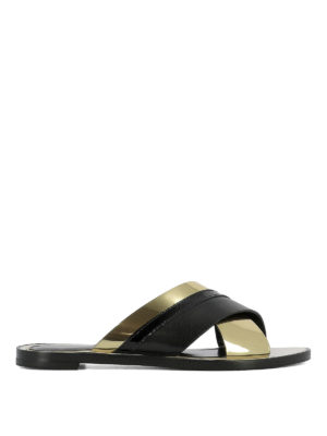 Lanvin: sandals - Crisscross golden straps sandals