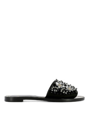 Lanvin: sandals - Jewel leather slippers