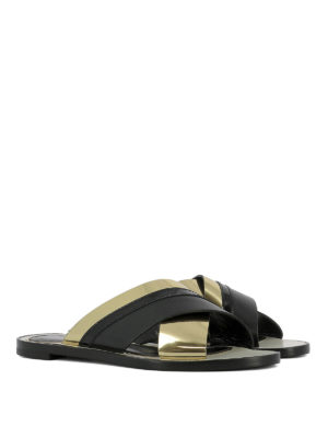 Lanvin: sandals online - Crisscross golden straps sandals