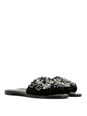 Lanvin: sandals online - Jewel leather slippers