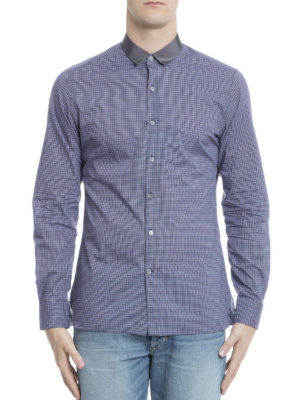 Lanvin: shirts online - Satin collar check cotton shirt