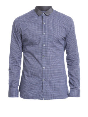 Lanvin: shirts - Satin collar check cotton shirt
