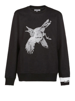 LANVIN: Felpe e maglie - Felpa in cotone con ricamo a contrasto