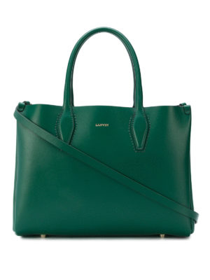 LANVIN: shopper - Borsa a mano mini Journée in pelle verde