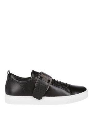 LANVIN: sneakers - Sneaker in nappa nera con fibbia Lanvin