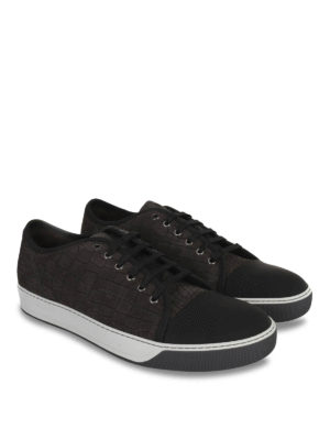 Lanvin: trainers online - Embossed leather sneakers
