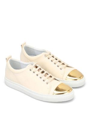 Lanvin: trainers online - Metallic toe leather sneakers