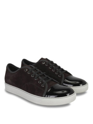 Lanvin: trainers online - Suede and patent leather sneakers