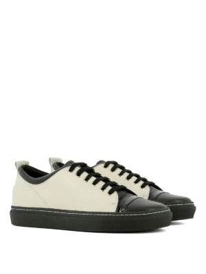 Lanvin: trainers online - Tennis bicolour leather sneakers