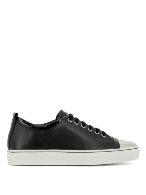 Lanvin: trainers - Tennis bicolour leather sneakers