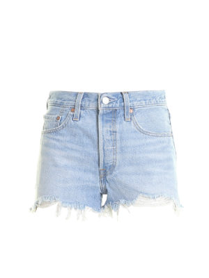 LEVI'S: Trousers Shorts - 501 fringed denim shorts