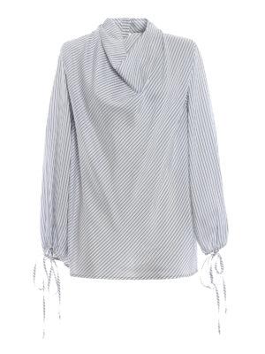 LOEWE: bluse - Blusa in seta a righe con collo ad anello