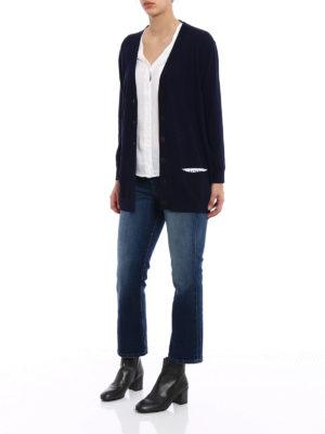 Loewe: cardigans online - Logo trimmed wool cardigan