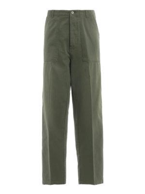LOEWE: pantaloni casual - Pantaloni in denim kaki con tasche applicate