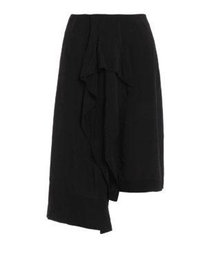 Loewe: Knee length skirts & Midi - Silk blend draped skirt