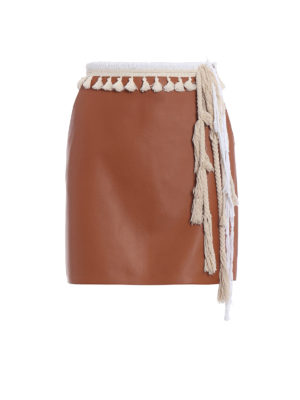 Loewe: leather skirts - Napa leather rope trim mini skirt