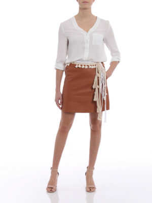 Loewe: leather skirts online - Napa leather rope trim mini skirt