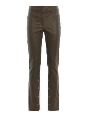 LOEWE: pantaloni in pelle - Pantaloni in nappa verde kaki