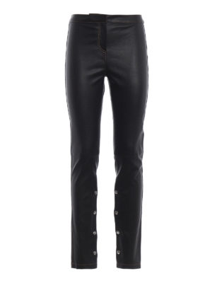 LOEWE: pantaloni in pelle - Leggings in pelle con fondo con automatici