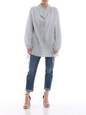LOEWE: bluse online - Blusa in seta a righe con collo ad anello