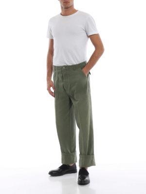 LOEWE: pantaloni casual online - Pantaloni in denim kaki con tasche applicate