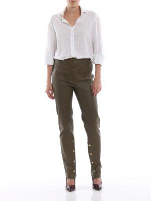 LOEWE: pantaloni in pelle online - Pantaloni in nappa verde kaki