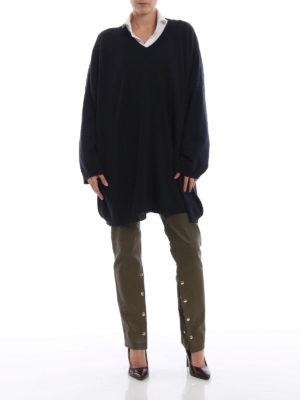 LOEWE: maglia collo a v online - Pull oversize in lana blu scuro scollato a V