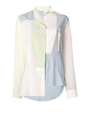 LOEWE: camicie - Camicia over in seta color block