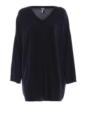 LOEWE: maglia collo a v - Pull oversize in lana blu scuro scollato a V
