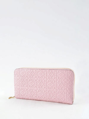 Loewe: wallets & purses online - Embossed leather zip around wallet