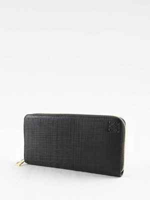 Loewe: wallets & purses online - Engraved leather zip around wallet