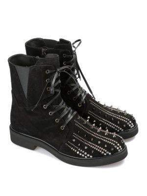 LORIBLU: stivali online - Anfibi in camoscio con punta borchiata