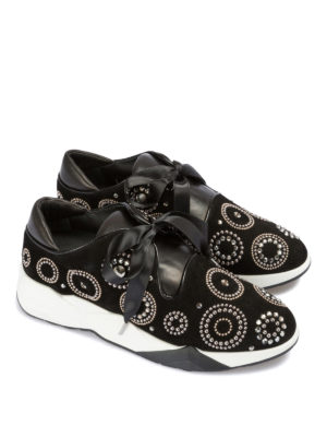 LORIBLU: sneakers online - Sneaker in suede decorato con lacci in satin