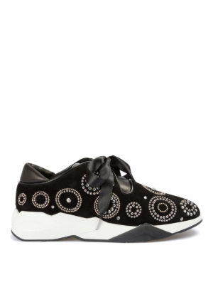 LORIBLU: sneakers - Sneaker in suede decorato con lacci in satin