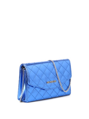 Love Moschino: clutches online - Quilted glossy blue clutch