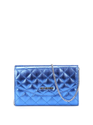Love Moschino: clutches - Quilted glossy blue clutch