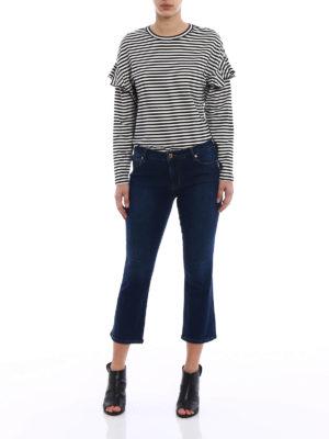 Love Moschino: flared jeans online - Stretch denim flared crop jeans