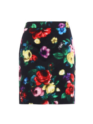 Love Moschino: mini skirts - Floral pixel printed mini skirt
