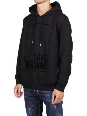 LOVE MOSCHINO: Felpe e maglie online - Felpa nera con logo e cappuccio