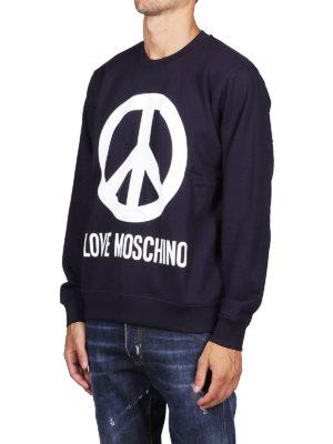 LOVE MOSCHINO: Felpe e maglie online - Felpa blu con logo stampato