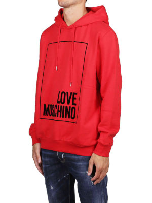 LOVE MOSCHINO: Felpe e maglie online - Felpa rossa con logo e cappuccio