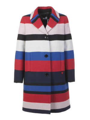 Love Moschino: short coats - Multicolour wool striped coat