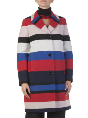 Love Moschino: short coats online - Multicolour wool striped coat