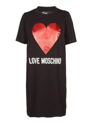 LOVE MOSCHINO: abiti corti - Abito felpa con cuore in jersey di cotone