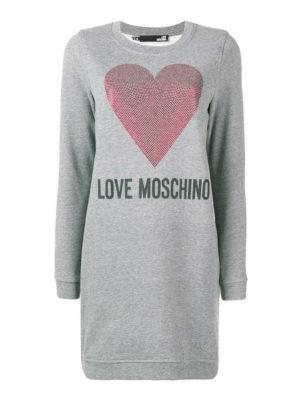 LOVE MOSCHINO: abiti corti - Abito felpa in jersey di cotone con cuore