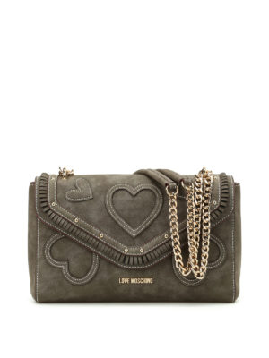 Love Moschino: shoulder bags - Nubuck bag with hearts