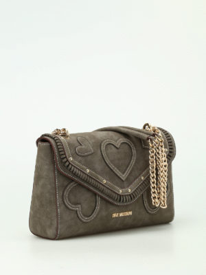 Love Moschino: shoulder bags online - Nubuck bag with hearts