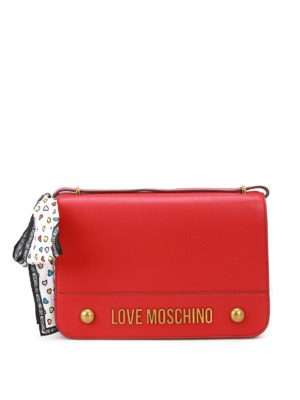 Love Moschino: shoulder bags - Scarf detailed fake leather bag